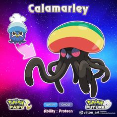 Calamarley The peaceful pokémon Pokemon Maker, Pokemon Alola, Pokemon Pokedex, Pokemon Fusion, Cute Pokemon, Pokemon Breeds, Ghost Type, Curious Creatures, Guy Drawing
