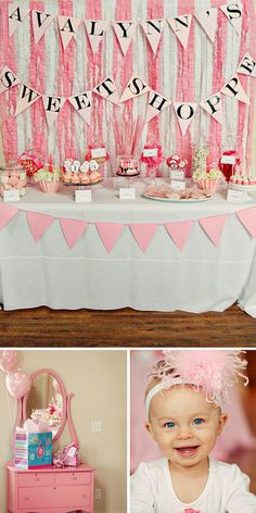 Sweet Shoppe table (site has diy banner instructions and treat ideas)