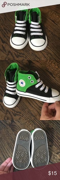 Baby converse Original Baby Converse in excellent used condition. Velcro opening and stretchy shoelaces mean no need to tie them up. Bought a Nordstrom and were worn a handful of times. The inside of the left shoe were the sizing is has glue and were bought like that (see last picture) Converse Shoes Baby & Walker