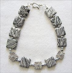 Gray Zebra Jasper & Sterling Silver Starburst Necklace