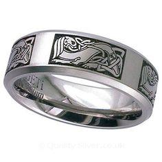Geti Flat Titanium Celtic Beast Ring
