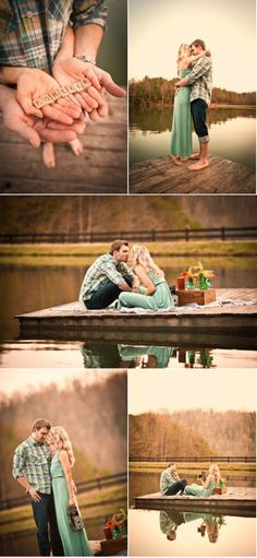 picnic on the lake for engagement photo shoot <3 I like the one on the dock/////