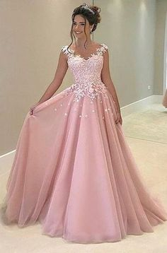 New Pink Appliques Prom Dress,Long Prom Dresses,Charming Prom Dresses,Evening Dress Prom Gowns, Formal Women Dress