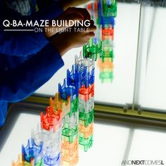 Building mazes with Q-Ba-Maze - light table activity for kids from And Next Comes L