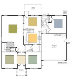 OPEN FLOOR PLAN -choose your colors carefully here. They need to coordinate and flow.