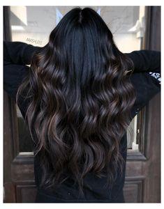 Coffee Hair Color, Espresso Hair Color, Dark Brunette Balayage Hair, Black Hair To Balayage, Black Hair With Highlights, Black Hair With Lowlights, Hair Color For Black Hair, Hair Looks, Curly Hair Styles