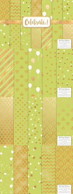 Gold Foil Digital Papers in Bamboo. Christmas Patterns. $6.00