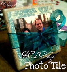 Defrump Me: Mod Podge Photo Tile-  Really easy and fun gift idea! Mod podge scrapbook paper onto a 6x6 tile, then mod podge a photo on top of that. Wrap with a bow and include a stand for a unique and lovely handmade gift!