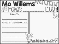 Teach Your Child to Read - Ms. Shopes Class: Mo Willems Author Study - Give Your Child a Head Start, and.Pave the Way for a Bright, Successful Future. Kindergarten Writing, Writing Activities, Teaching Reading, Learning, Sequencing Activities, Library Activities, Teaching Class, Enrichment Activities, Writing Worksheets