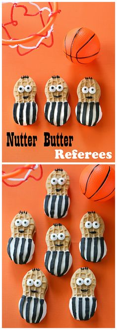 so cute - Nutter Butter football referees! Fun for a Super Bowl party! Make the right call with this quick treat for March Madness. Nutter Butter Referees cookies are dipped in white chocolate and dressed up as referees. Basketball Birthday Parties, Football Birthday, Sports Birthday, Soccer Party, Sports Party, Football Parties, Basketball Cupcakes, Basketball Wedding, Soccer Referee