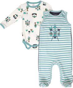 Minymo green striped baby set @ emilea