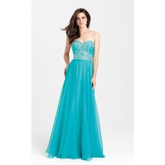 Madison James 16351 Prom Long Dress Long Strapless Sleeveless ($378) ❤ liked on Polyvore featuring dresses, gowns, formal dresses, teal, long dresses, formal evening dresses, long gowns, beaded gown and teal prom dresses