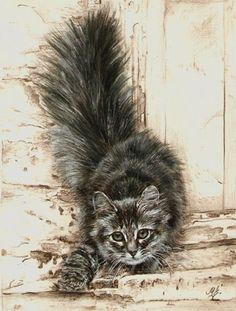 Bildergebnis für Maria Zeldis - Artistic cats - Katzen World Watercolor Cat, Watercolor Animals, Gatos Cats, Cat Drawing, Maine Coon, Animal Paintings, Beautiful Paintings, Beautiful Cats, Dog Art