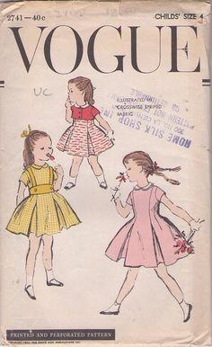 MOMSPatterns #Vintage Sewing Patterns - Vogue 2741 Vintage 40's #Sewing #Pattern CHARMING Toddler Girls Inverted Pleats Suspender 'Halter' Skirt, Flared Party Dress, Tiny Bolero Jacket Cover Up