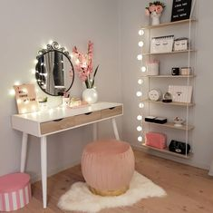 R Schminktisch, - B.R Schminktisch, Estás en el lugar correcto para diy clothes Aquí presentamos diy - Bedroom Decor For Teen Girls, Girl Bedroom Designs, Room Ideas Bedroom, Teen Bedroom Makeover, Bedroom Decor For Small Rooms, Ikea Bedroom, Cute Room Ideas, Cute Room Decor, Diy Beauty Room Decor