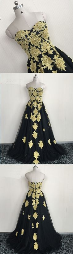 Sweetheart neck black tulle long gold lace appliques A-line evening dress #prom #dress #promdress #promdresses