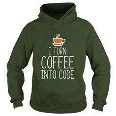 Awesome Tee I turn coffee into code Tshirt Programmer Shirts & Tees
