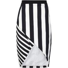 Mugler Black Striped Stretch Crepe Skirt ($500) ❤ liked on Polyvore featuring skirts, black, balmain skirt, stripe skirts, structured skirt, striped skirts and zipper skirt