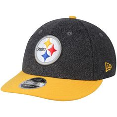 Men s New Era Black Gold Pittsburgh Steelers Classic Trim Snap Low Profile  9FIFTY Adjustable Hat e79226907