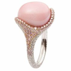 Luxurious Large Pink Pearl #Diamonds Engagement #Ring. http://jangmijewelry.com/