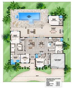 This 4 bedroom Coastal Contemporary house plan features a great room, dining room with wet bar, private master suite and outdoor kitchen.