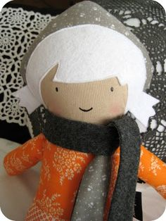 Cute handmade doll with simple face