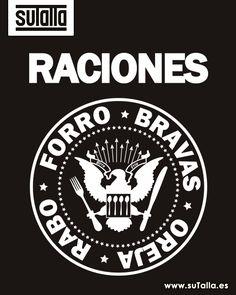 Forro, bravas, oreja rabo... Raciones Parodia con humor del logo de un famoso grupo de rock