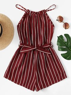 Tie Waist Striped Halter Romper - femme tendance femme tendance - Jumpsuits and Romper Teenage Outfits, Teen Fashion Outfits, Mode Outfits, Cute Fashion, Outfits For Teens, Dress Outfits, Fashion Styles, Feminine Fashion, Emo Fashion