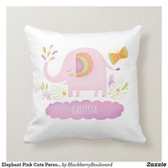 Shop Elephant Pink Cute Personalized Girl Throw Pillow created by BlackberryBoulevard. Elephant Nursery, Pink Elephant, Elephant Gifts, Elephant Throw Pillow, Throw Pillows, Toddler Room Decor, Kids Room, Nursery Decor, Nursery Room