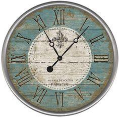 Fleur Round Vintage Clock - Farmhouse - Wall Clocks - by Red Horse Signs Farmhouse Wall Clocks, Country Farmhouse Decor, French Country Decorating, Vintage Farmhouse, Modern Farmhouse, Farmhouse Plans, French Farmhouse, Modern Country, Country Living