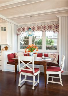 Breakfast Nook. Vintage Inspired Breakfast Nook with the red cushions and red and white valence are an inviting area in this home decor.  CLICK ON PIN AND LEARN HOW TO MAP PINS WITH YOUR ARCHITECTURE BUSINESS