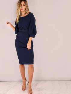Online shopping for Puff Sleeve Belt Chiffon Slim Dress from a great selection of women's fashion clothing & more at MakeMeChic.COM.