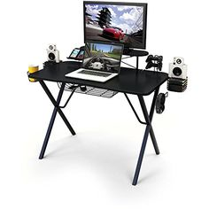Gaming Desk Pro Allinone professional gamer desk with storage Builtin metal wire holders and Cable slots and underside protector basket Product Dimensions L x W x H 5100 x 2450 x 3580 Inches * For more information, visit image link.Note:It is affiliate link to Amazon. #HomeOfficeFitting