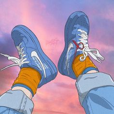 Behind The Scenes By streetwvr Blue Aesthetic, Aesthetic Anime, Aesthetic Backgrounds, Aesthetic Wallpapers, Sneaker Posters, Tableau Pop Art, Sneakers Wallpaper, Japon Illustration, Small Canvas Art