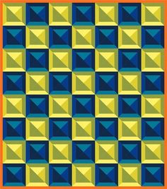 Checkered Tiles designed by Robert Kaufman Fabrics. Patchwork Patterns, Tile Patterns, Quilting Projects, Quilting Designs, Sewing Projects, Optical Illusion Quilts, Owl Quilts, Magic Squares, Paper Quilt