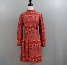 RESERVED///// knit dress / 1960s graphic print dress / 60s orange dress medium m. $48.00, via Etsy.