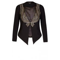 Emblazoned with muted silver and golden metallic nailheads, our Nail It Jacket will showcase your exemplary fashion sense. This collarless jacket features full length sleeves, shoulder pads, single hook and eye fastening and a shaped hem.