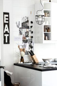 black and white kitchen, moodboard wall. agnetha home
