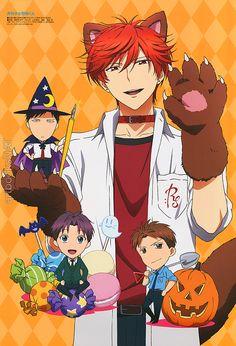 Adorable Halloween-themed Gekkan Shoujo Nozaki-kun (月刊少女野崎くん) poster in this month's Otomedia Magazine, illustrated by animation director Natsuko Fujiwara (藤原奈津子).