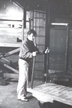 """April 2, 1957 /Fooling around between shows  backstage at the Maple Leaf Gardens, Toronto ONT - Tuesday, April 2, 1957 Elvis' first set included two unreleased covers, Charlie Gracie's """"Butterfly"""" and Smiley Lewis' """"One Night."""" Presley had waxed the Lewis number in February, it would be issued by RCA in October 1958. Billy Watson was a famous Canadian professional wrestler and part of Elvis' security team in Toronto."""