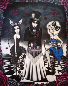 'A Mad Tea Party!' By Autumn. Alice In Wonderland, Mad Hatter, Victorian, vintage, low brow art, surreal art. 2011 Oil on canvas By Autumn McGrail