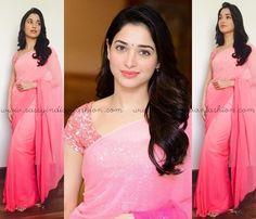 Tamanna in Pink Saree, Plain Pink Saree and Designer Blouse, Celebrity in Pink Saree, Tamanna in Manish Malhotra Sarees, Celebrities in Manish Malhotra Sarees.