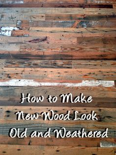 Whether you are putting up wood paneling, making a wooden crate, or building a piece of furniture out of wood, you may want to have your new wood look old and weathered to add a bit of character and c(Wooden Step Wood Signs) Weathered Wood, Barn Wood, Rustic Wood, Aging Wood, How To Distress Wood, Furniture Projects, Wood Furniture, Old Wood Projects, Wood Sofa