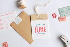 Brooke & Ryan Save-the-Date invite graphic design label type typography kraftpaper enveloppe luggage minimal pastel colors