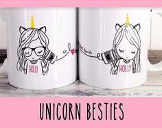 Best Friend Long Distance Coffee Tea Customized Unicorn Mug Gift Set