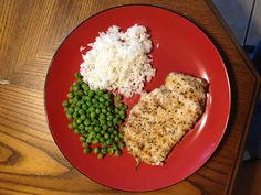 Dinner time, grilled chicken breast, rice and steamed peas. Yum