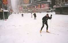 The Blizzard of Someone had asked for a photo. Skiers in New York City. Blizzard Of 1996, Winter Wonder, Extreme Weather, Historical Photos, East Coast, Old And New, Old Things, New York, Snow