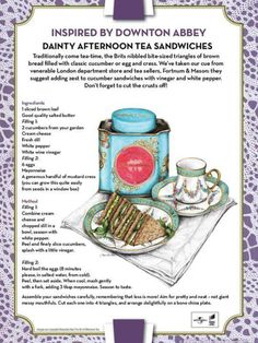 Downton Abbey Inspired Recipe: Dainty Afternoon Tea Sandwiches Serve with pots of freshly brewed tea in pretty teacups and saucers, a choice of lemon slices or milk, and enjoy! Tee Sandwiches, Finger Sandwiches, High Tea Sandwiches, Simply Yummy, Afternoon Tea Parties, Cuppa Tea, Teas Tea, Pin On, My Tea