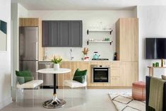 """Tour a New Residential #High-Rise That's Uniquely """"Chicago"""" - The #kitchen of the one-bedroom unit"""