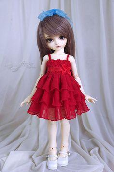 ÚLTIMO un vestido de volantes rojo para bjd pequeña LittleFee